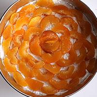 Выложим персики на творожный слой торта - фото