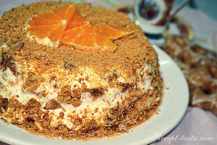 Готовый торт из пряников и сметаны