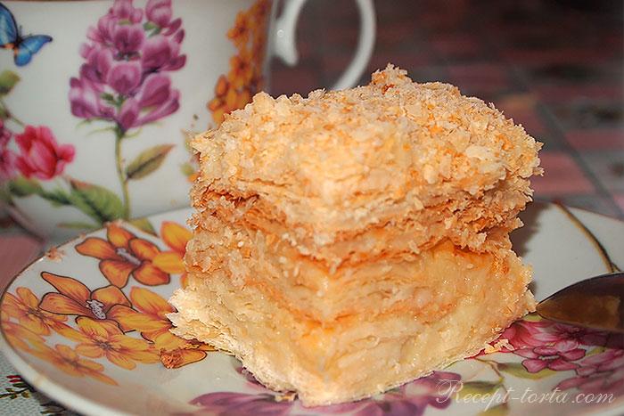 Торт Наполеон из готового слоеного теста в разрезе - фото