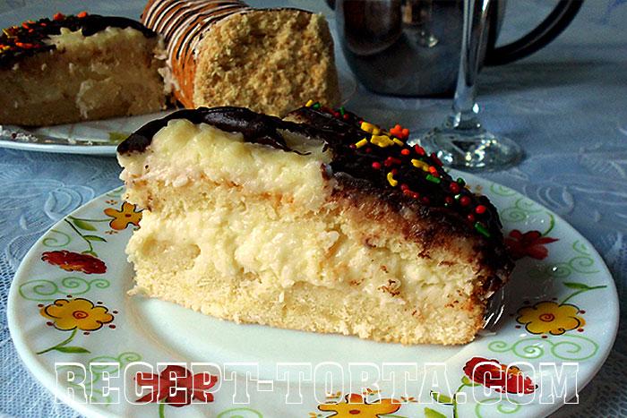 Торт с заварным кремом рецепт с фото «Кокосовый рай»