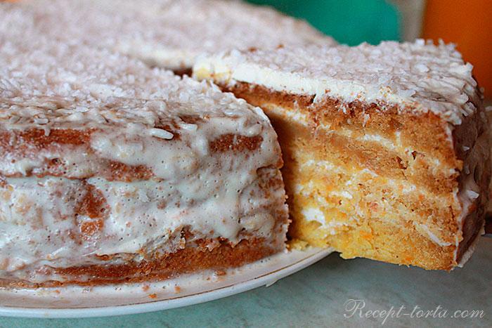 Тыквенный торт приготовленный в муливарке - фото в разрезе