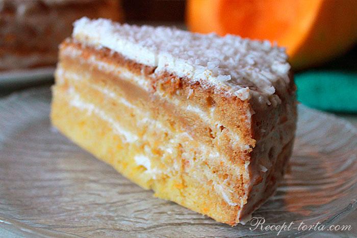 Готовый торт из тыквы в разрезе