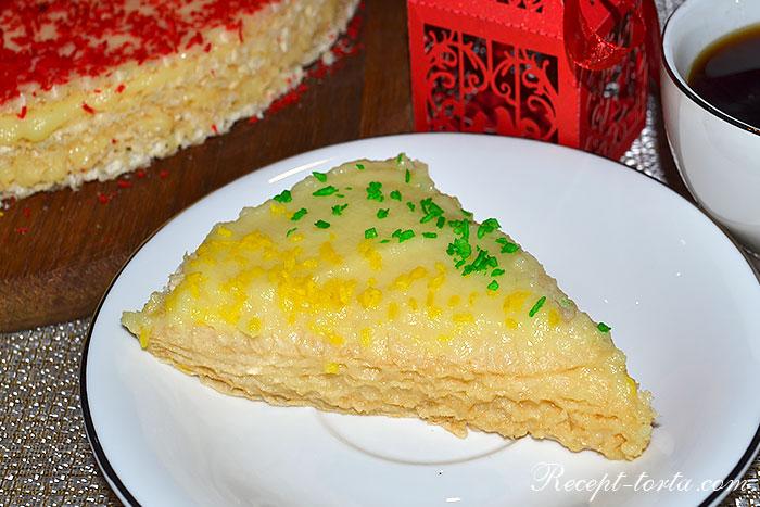 Итоговое фото к рецепту Вафельный торт с заварным кремом