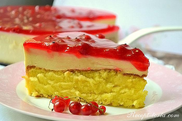 торт с желе и бисквитом рецепт с фото